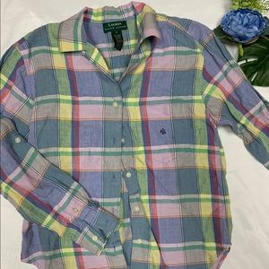 🍒 Lauren Ralph Lauren plaid button up shirt
